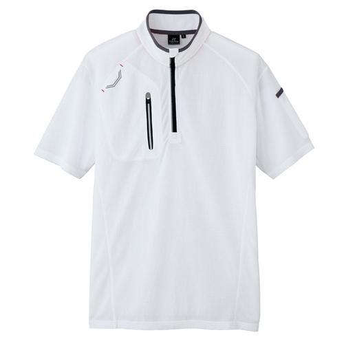AZ-10607 半袖ハーフZIPシャツ(男女兼用) 001/ホワイト
