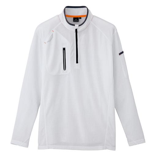 AZ-10606 長袖ハーフZIPシャツ(男女兼用) 001/ホワイト