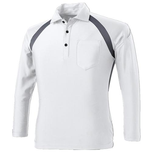CUC1610 アイスメッシュ長袖ポロシャツ 18/シロ ※切り替え部分チャコールグレー