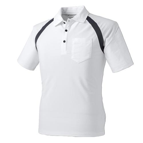 CUC1611 アイスメッシュ半袖ポロシャツ 18/シロ ※切り替え部分チャコールグレー