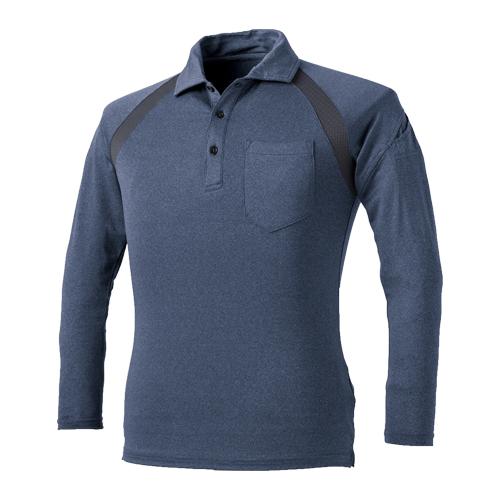 CUC1620 クールメッシュ長袖杢ポロシャツ 120/杢コン ※切り替え部分チャコールグレー