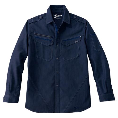 DESK52604 Jawinストレッチ長袖シャツ[社名刺繍無料] 011/ネービー