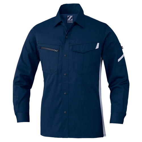 DESK75504_1 Z-DRAGON製品静電長袖シャツ[社名刺繍無料] 011/ネービー