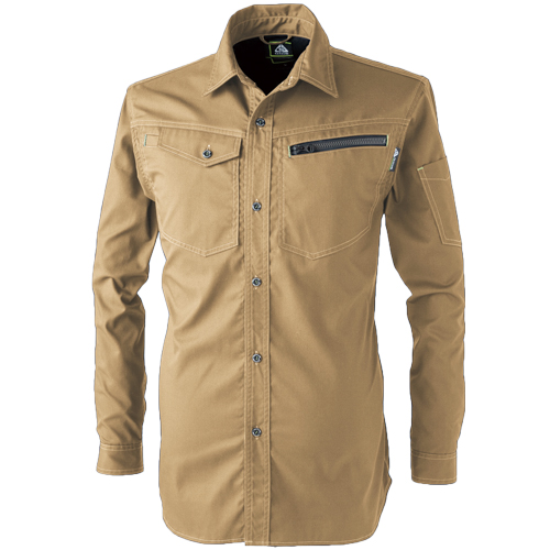 CUC2901 ドビーストレッチT/C長袖シャツ[社名刺繍無料] 08/カーキ