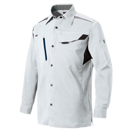 AZ-2535_1 長袖シャツ(男女兼用)[社名刺繍無料] 003/シルバーグレー