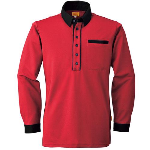 BIGSW525 メンズ・レディース兼用長袖ポロシャツ 45/ラストルージュ×ブラック
