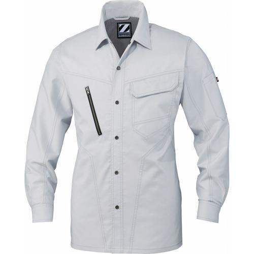 DESK75904 Z-DRAGON ストレッチ長袖シャツ[社名刺繍無料] 036/シルバー