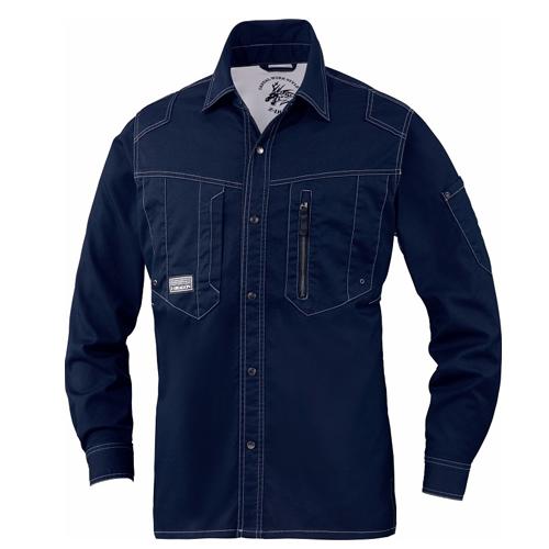 DESK75704 Z-DRAGON ストレッチ長袖シャツ[社名刺繍無料] 011/ネービー