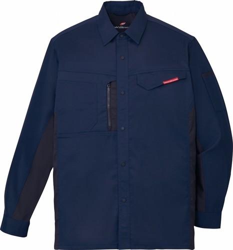 DESK87104 製品制電ストレッチ長袖シャツ[社名刺繍無料] 011/ネービー