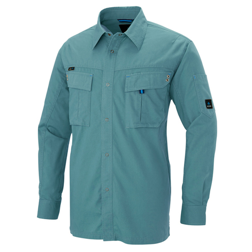 AZ-60735 長袖シャツ(男女兼用)[社名刺繍無料] 027/ターコイズ
