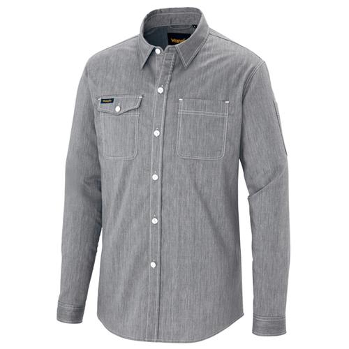 AZ-64435 長袖シャツ(男女兼用)[社名刺繍無料] 004/グレー