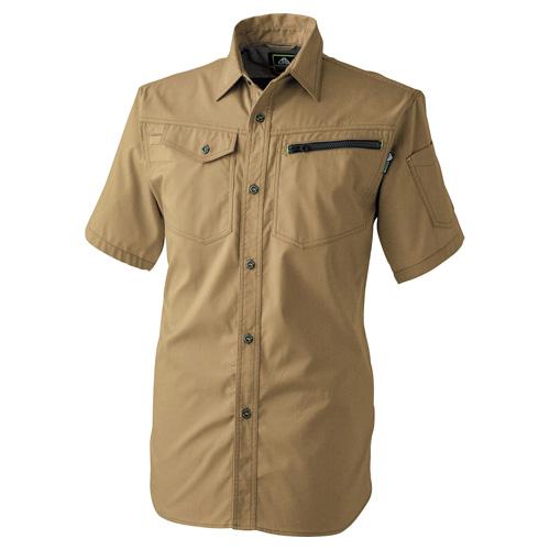 CUC2904 ドビーストレッチT/C半袖シャツ[社名刺繍無料] 08/カーキ