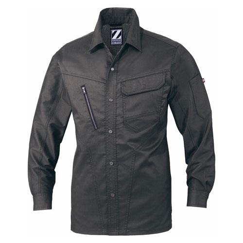 DESK75904_1 Z-DRAGON ストレッチ長袖シャツ[社名刺繍無料] 123/スチールグレー