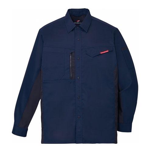 DESK87104_1 製品制電ストレッチ長袖シャツ[社名刺繍無料] 011/ネービー
