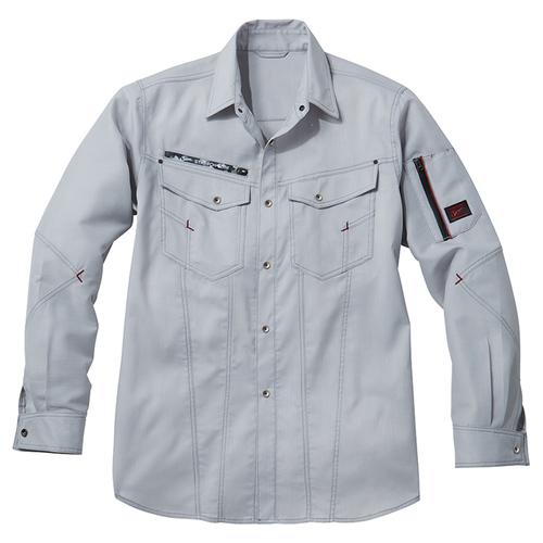 DESK56804 Jawinストレッチ長袖シャツ[社名刺繍無料] 036/シルバー