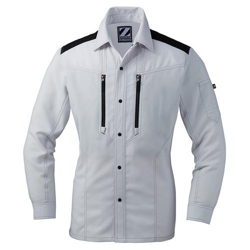 DESK76004 Z-DRAGON 製品制電ストレッチ長袖シャツ[社名刺繍無料] 036/シルバー
