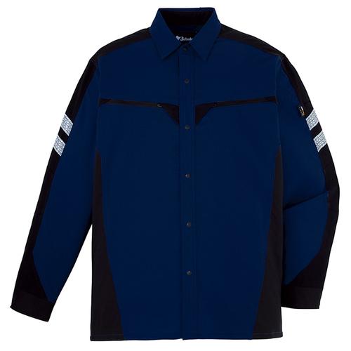 DESK87304 ストレッチ長袖シャツ[社名刺繍無料] 011/ネービー
