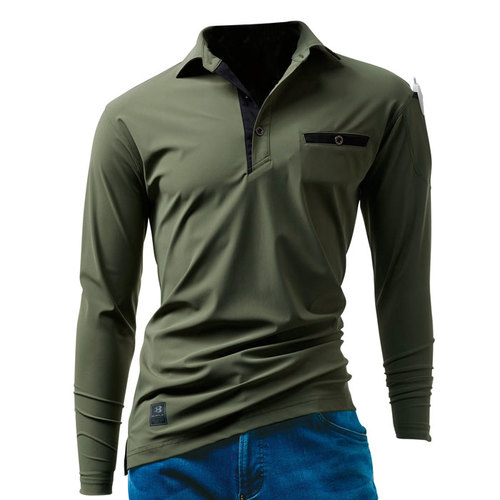 BURTLE225 長袖アイスポロシャツ 14/ミルスグリーン