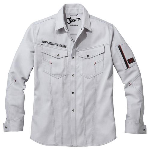DESK52804 Jawinストレッチ長袖シャツ[社名刺繍無料] 036/シルバー