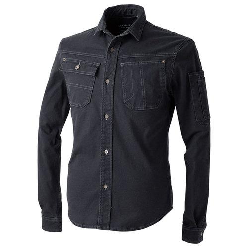 CUC8051 ドビースリムストレッチ・長袖シャツ[社名刺繍無料] 814/N.ブラック