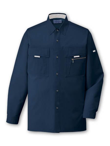 DESK85904 長袖シャツ[社名刺繍無料] 011/ネービー