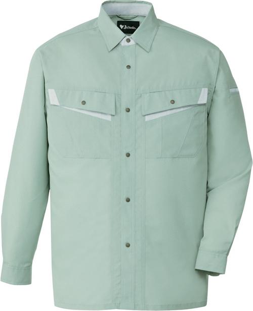 DESK86004 エコ製品制電長袖シャツ[社名刺繍無料] 039/アースグリーン
