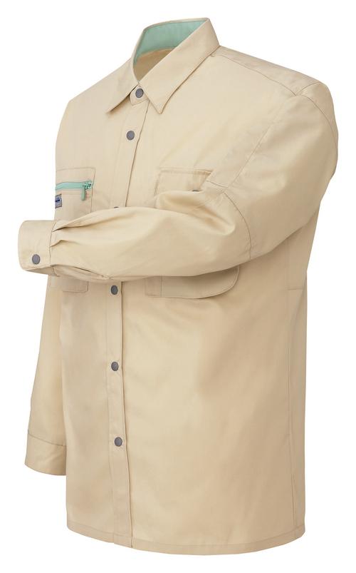 AZ-5325_1 長袖シャツ[社名刺繍無料] 002/ライトベージュ