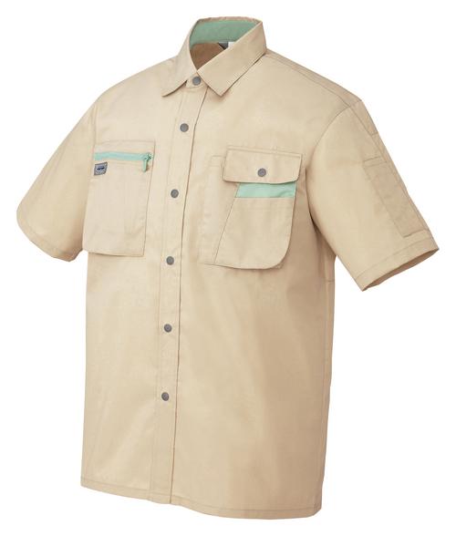 AZ-5326 半袖シャツ[社名刺繍無料] 002/ライトベージュ