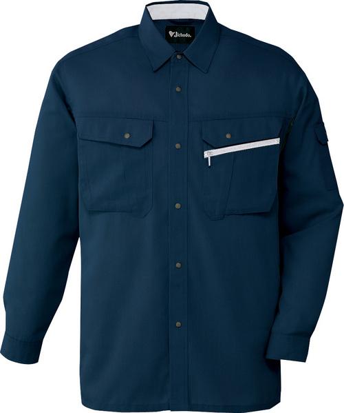 DESK86204 接触冷感長袖シャツ[社名刺繍無料] 011/ネービー