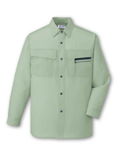 DESK46504_1 長袖シャツ[社名刺繍無料] 104/スプレーグリーン