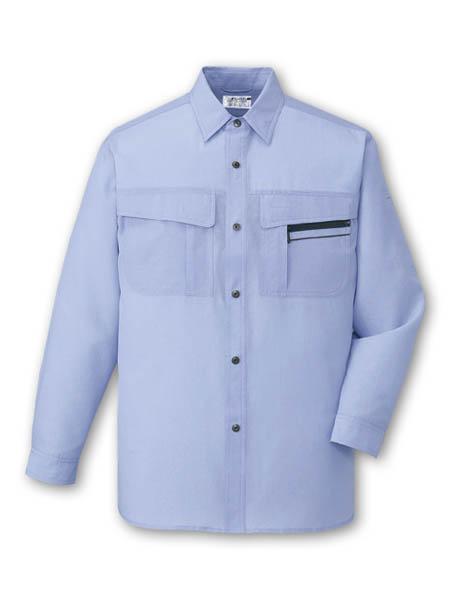 DESK46504_1 長袖シャツ[社名刺繍無料] 105/ソフトブルー この色はシャツだけの展開です
