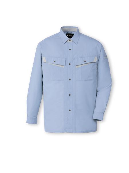 DESK86004_1 エコ製品制電長袖シャツ[社名刺繍無料] 025/ライトブルー