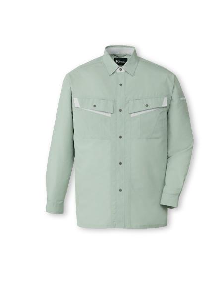 DESK86004_1 エコ製品制電長袖シャツ[社名刺繍無料] 039/アースグリーン