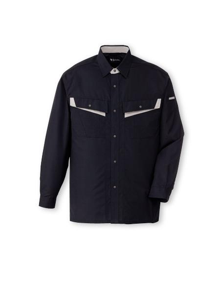 DESK86004_1 エコ製品制電長袖シャツ[社名刺繍無料] 131/シックブラック