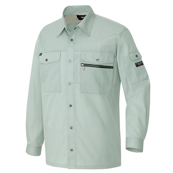 AZ-3235 長袖シャツ[社名刺繍無料] 005/アースグリーン